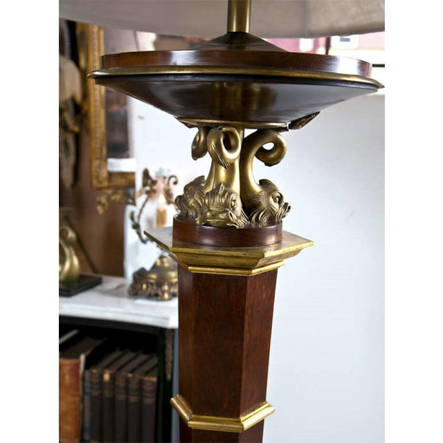 French Bronze Empire Style Mahogany Floor Lamp - Image 6 of 10