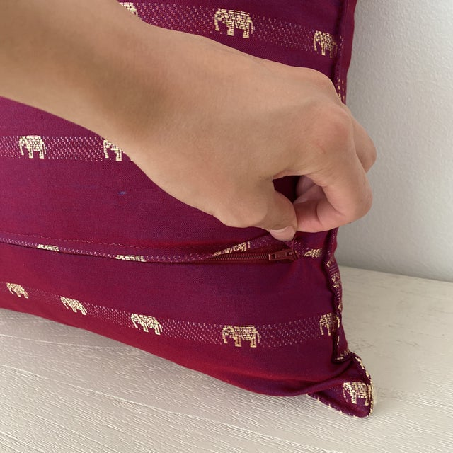 2010s Magenta Thai Silk Pillow With Elephant Motifs For Sale - Image 5 of 12