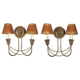 Electrified Wheat Wall Sconces, Pair For Sale