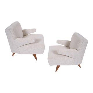 Jens Risom Paddle Arm Lounge Chairs- A Pair For Sale