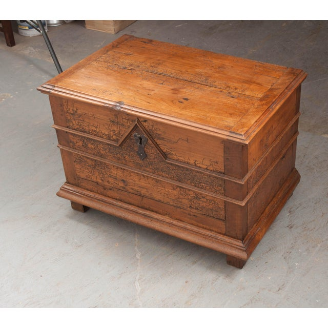 18th Century French Louis XIII Walnut Trunk For Sale - Image 9 of 12