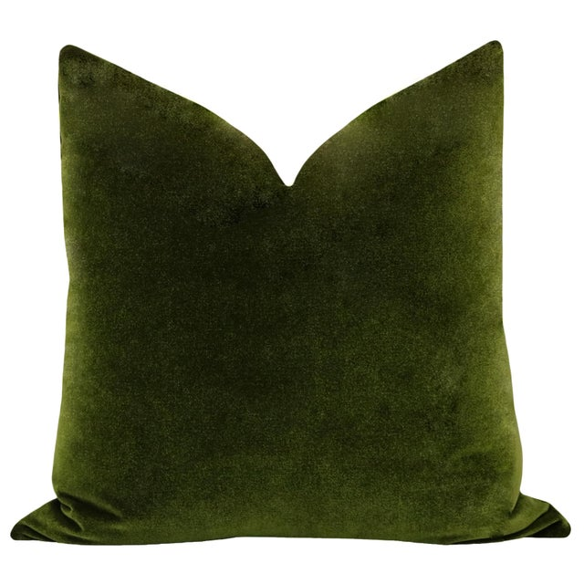 Pair of beautiful custom-made luxury mohair-like velvet pillows in a saturated Olive green colorway. Meticulously...