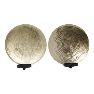 Hammered Brass Metal Wall Sconces - a Pair For Sale