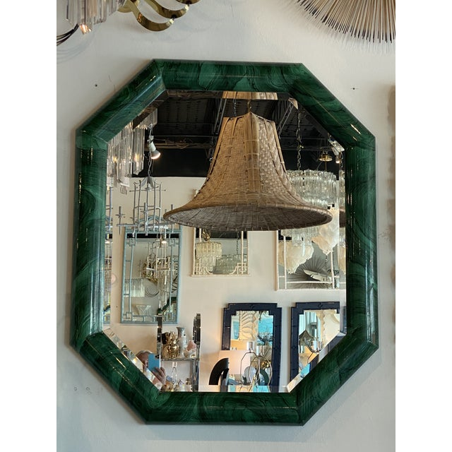 Vintage Large Green Faux Malachite Vertical or Horizontal Octagon Wall Mirror For Sale - Image 11 of 13