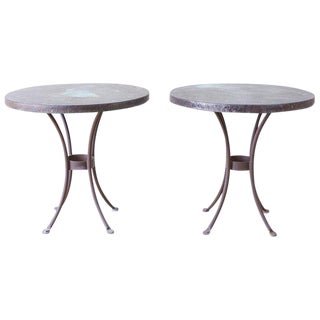 Pair of O. W. Lee Bistro Style Copper Dining Tables For Sale