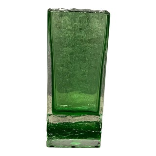 Bohemian Green Glass Vase For Sale
