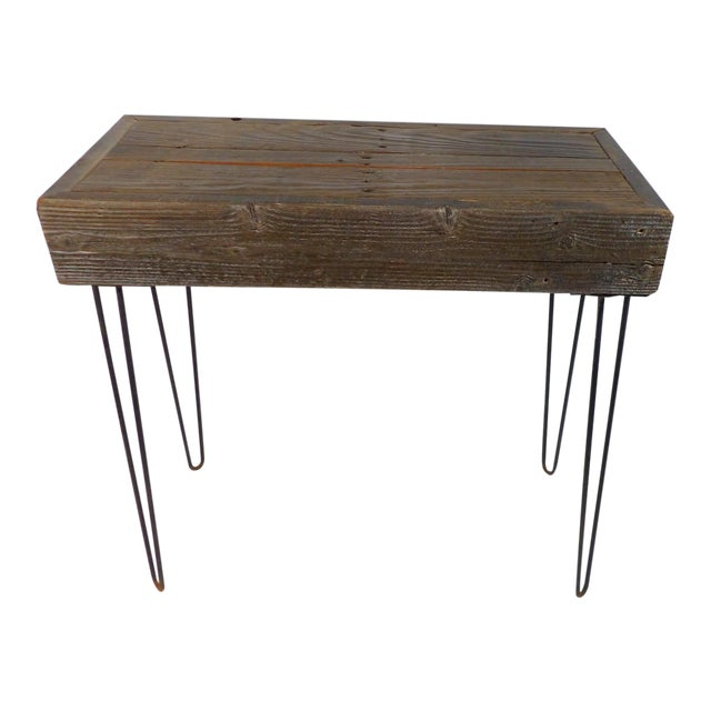 Reclaimed Fingered Redwood Hairpin Legs Sofa Table For Sale