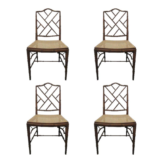 4 Faux Bamboo Chinese Chippendale Style Chairs For Sale