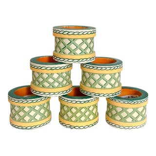 Napkin Rings Villeroy & Boch French Garden Lattice Pattern - Set of 6 For Sale