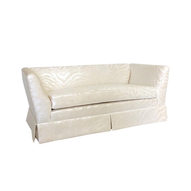 Hollywood Regency Style Silver Zebra Print Cream Chenille Loveseat Chairish