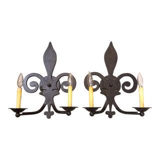 Fleur De Lis Wrought Iron Wall Sconces - A Pair