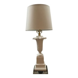Barbara Crossgrove White and Lucite Table Lamp For Sale
