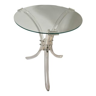 Lucite Round Side Table For Sale