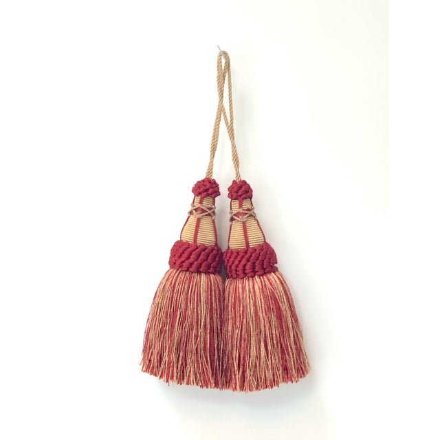 Pair of Key Tassels in Red and Gold With Looped Ruche Trim For Sale - Image 11 of 11