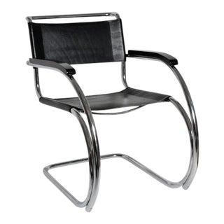 Mies Van Der Rohe Style Mid-Century Accent Side Chair For Sale