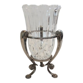 Vintage Crystal Hurricane Vase on Stand For Sale