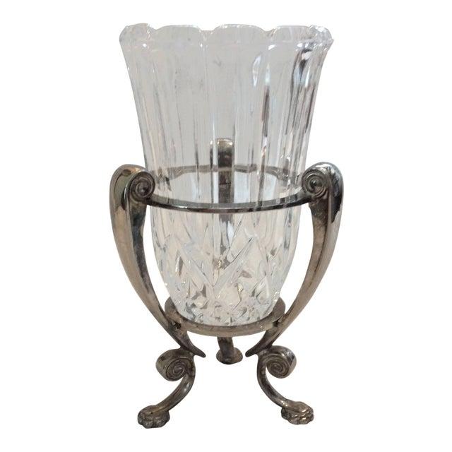 Vintage Crystal Hurricane Vase On Stand Chairish