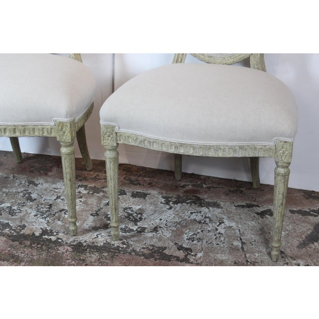 Pair of Italian. Louis xvi style side chairs vary good quality solid frame wide back and wide seat. Upholstered in line.