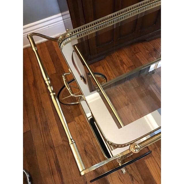 Vintage Brass & Glass Bar Cart - Image 6 of 8
