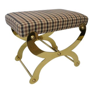 Mid-Century Maison Jansen Campaign Style Curule Form Bench Low Stool Polished Brass and New Upholstery For Sale
