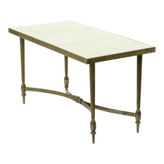 Maison Bagues Superb Gold Bronze Coffee Table With Parchment Top For Sale
