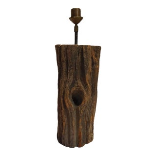 Antique Wooden Log Lamp Base-Belgium 1890 For Sale