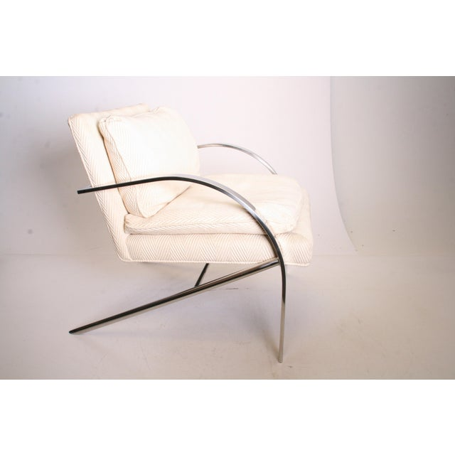 Vintage Chrome Upholstered Arm Chair by Bernhardt Flair For Sale - Image 6 of 11