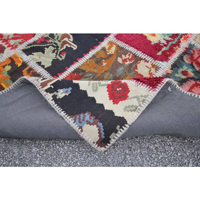 Vintage Turkish Besarabian Patchwork Kilim Rug - 5′6″ × 8′2″ - Image 6 of 6