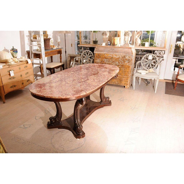 French Provincial Italian Dolphin Oval Table With Rose Marble Top For Sale - Image 3 of 11