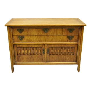 Vintage Mid Century Chinoiserie Fruitwood Buffet Sideboard Credenza Cabinet For Sale