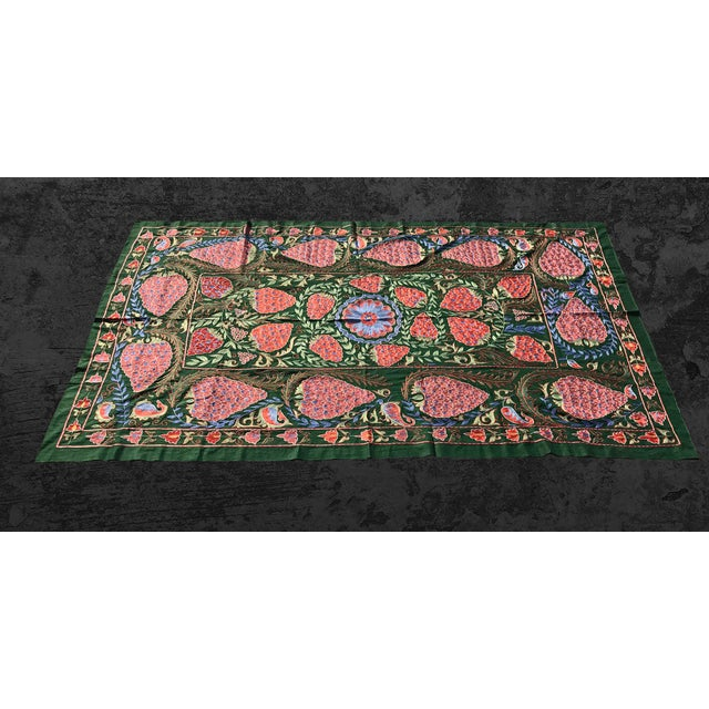 "Boho Chic Handmade Suzani Strawberry Design Crochet Embroidered Wall Hanging / Bedspread - 7'1"" X 3'7"" For Sale - Image 3 of 8"