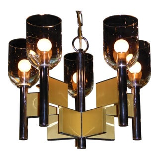 1970s Hollywood Regency Gaetano Sciolari Chrome & Brass Chandelier