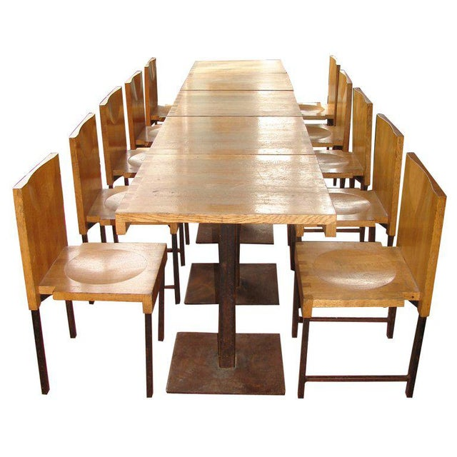 Wood and Steel Dining Chairs and Tables For Sale - Image 9 of 9