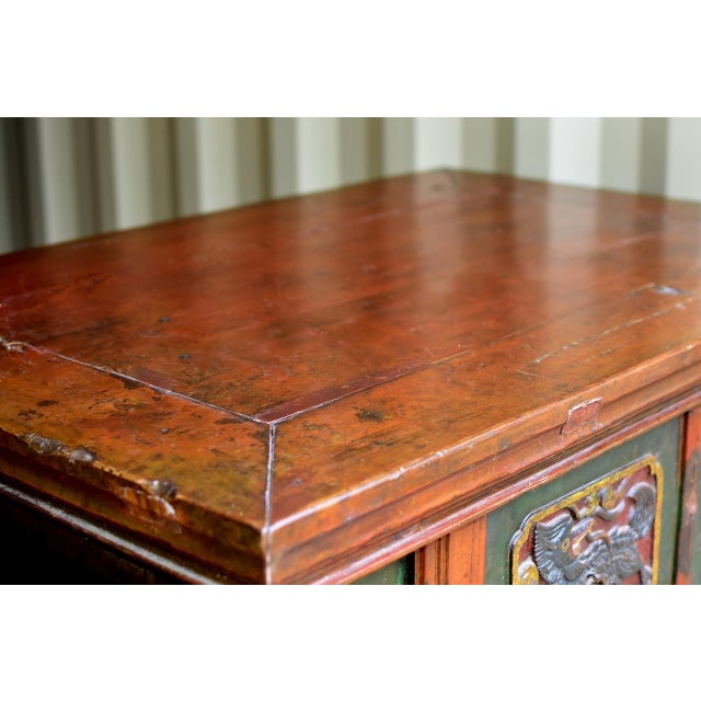 Early 19th Century 19th Century Tibetan Hand Carved Chest For Sale - Image 5 of 11