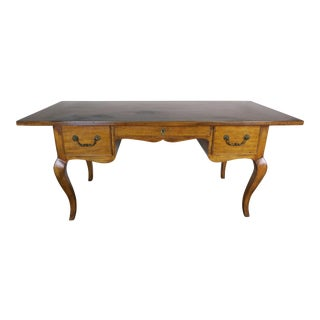 French Country Walnut Desk With Drawers Circa 1930 For Sale
