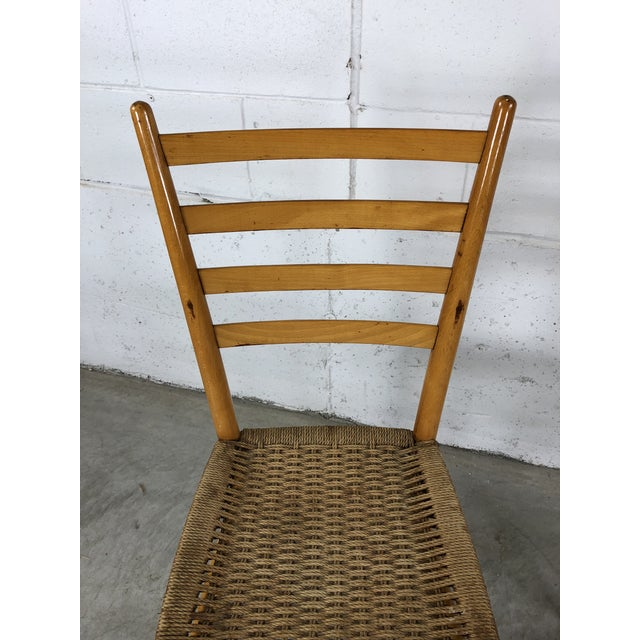 Wood Mid-Century Italian Beech Wood Ladder Back Chairs Gio Ponti Style, Pair For Sale - Image 7 of 10
