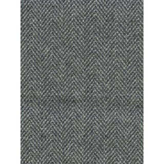 Featured in The 2020 San Francisco Decorator Showcase — Custom Gray Herringbone Roman Shade With Teal Band Details - Set of 4 For Sale