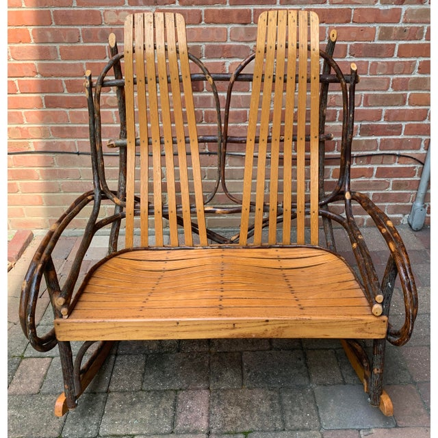 Bentwood and Twig Adirondack Double Vintage Rocking Chair For Sale - Image 12 of 13