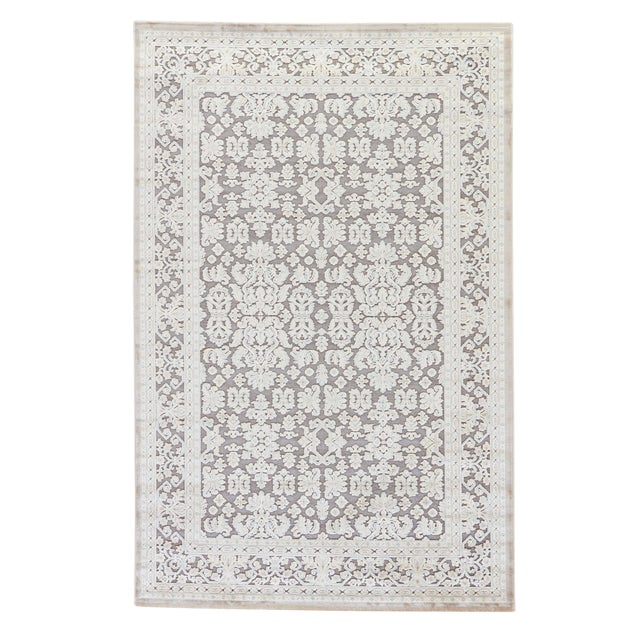 Jaipur Living Regal Damask Gray/ White Area Rug - 9′ × 12′ For Sale