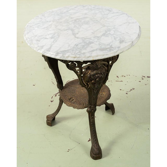Marble Bistro Accent Table: World-Class Antique English Cast Iron Pub Bistro Table W