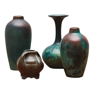 Charles Walter Clewell Copper-Clad Ceramic Vases, 1920s For Sale