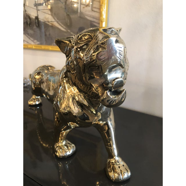 Vintage Hollywood Regency Polished Brass Tiger Statue Pair Available For Sale - Image 10 of 11