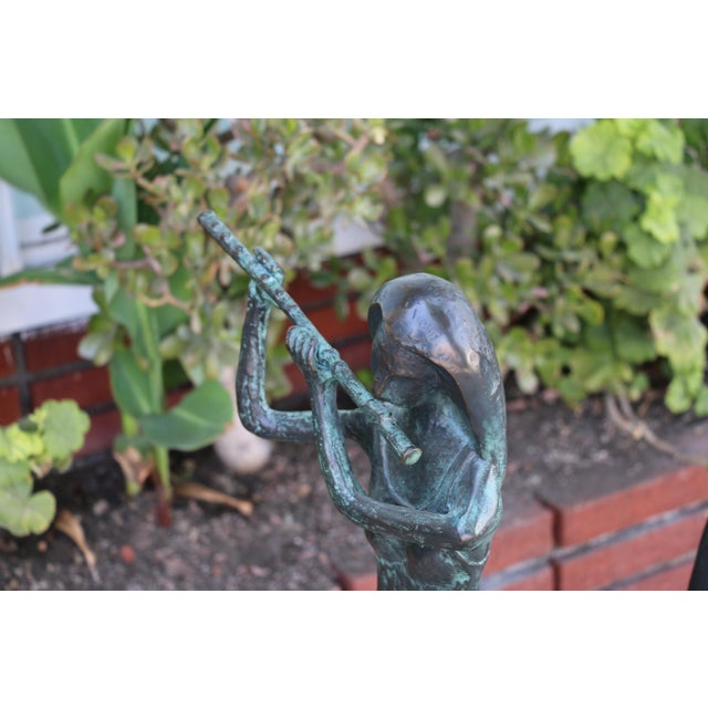 Bronze and Marble Pair of Musician Table Statues For Sale - Image 10 of 11