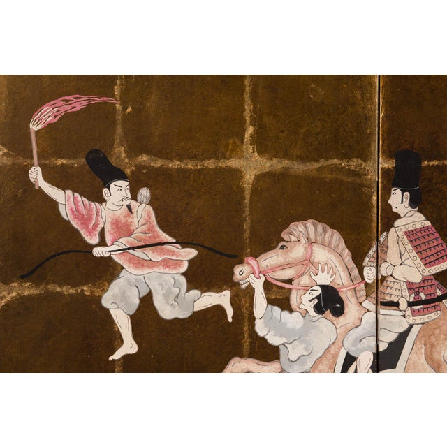 """Gold """"Samurai Dressed Parade"""" Japanese-Style 6-Panel Ink on Gold Foil Paper Folding Screen by Lawrence & Scott For Sale - Image 8 of 13"""