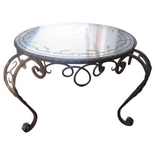 French Wrought Iron Coffee Table With Eglomise Top For Sale