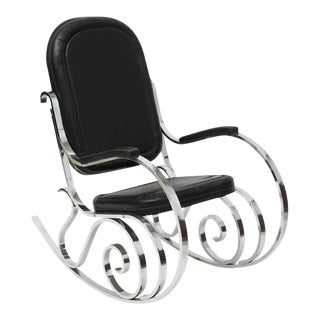 French Modern Polished Nickel Rocking Chair, Maison Jansen For Sale
