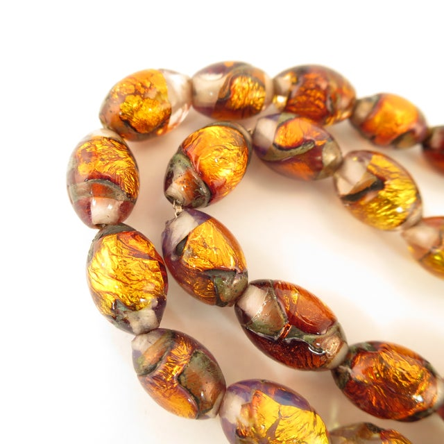Venetian Fire Opal Foiled Glass Bead Necklace 1950s For Sale - Image 12 of 13