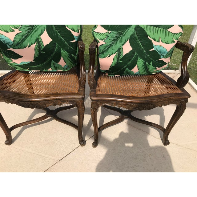 Vintage Coastal Regency Custom Upholstered French Carved Chairs-A Pair For Sale In Naples, FL - Image 6 of 13