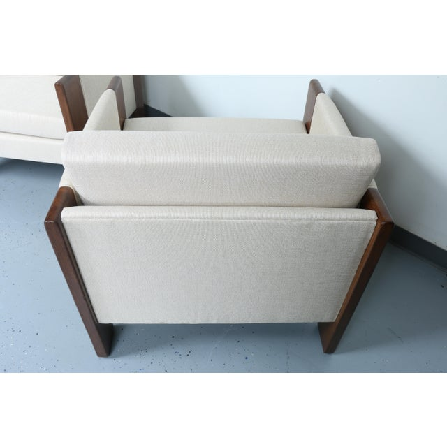 Walnut pair of Cubed Lounge Chairs - Image 10 of 10