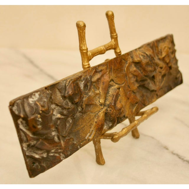 Bronze Abstract on Brass Faux Bamboo Easel - Image 3 of 8